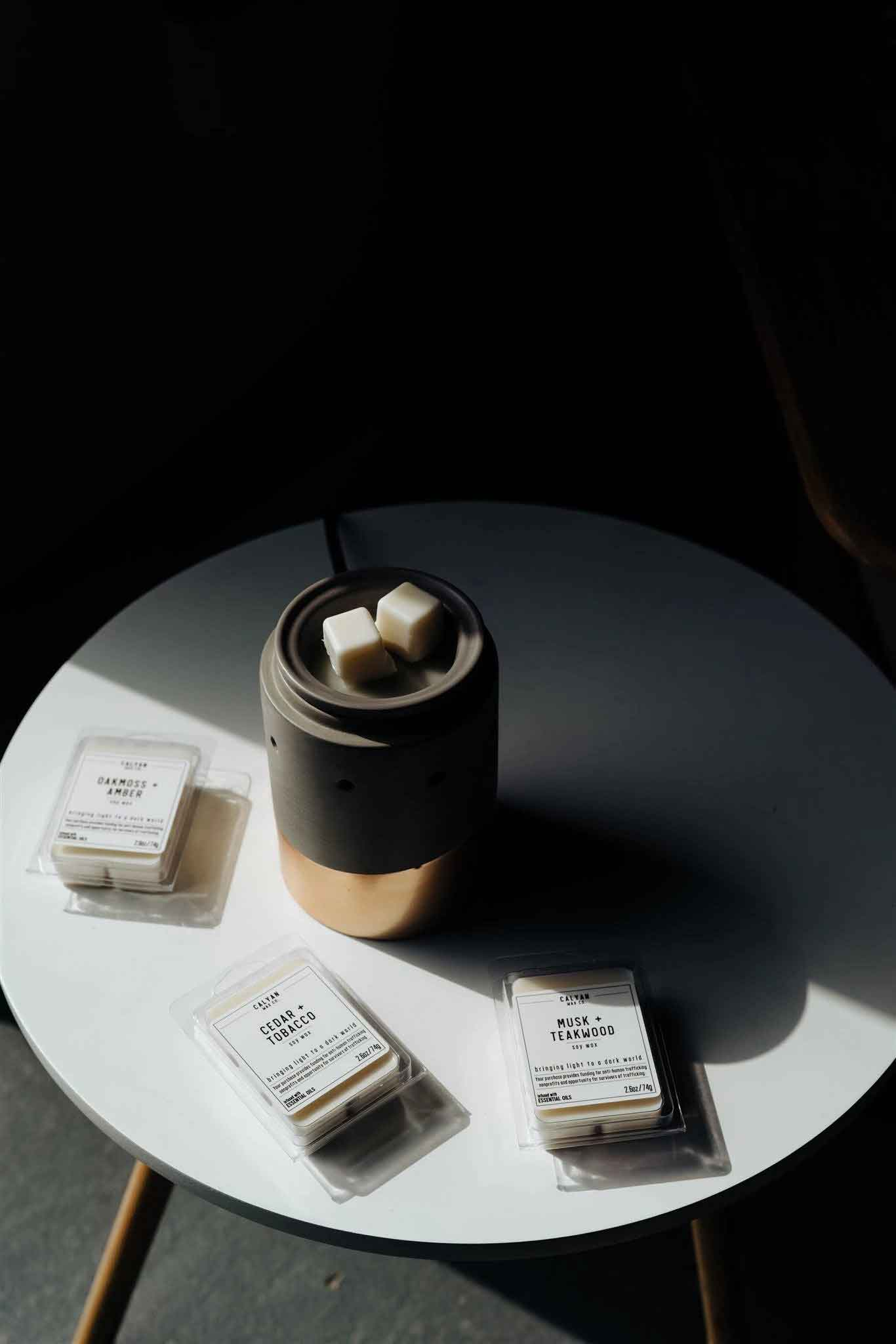 Wax Melts Lifestyle Image With Wax Melter Cedar + Tobacco Scent Calyan Wax Co.