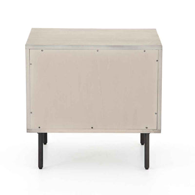 Grey washed 2 drawer nightstand of Acacia veneer from Four Hands backside view