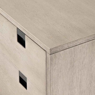 Grey washed 2 drawer nightstand of Acacia veneer from Four Hands corner detail