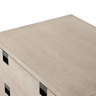 Grey washed 2 drawer nightstand of Acacia veneer from Four Hands surface perspective
