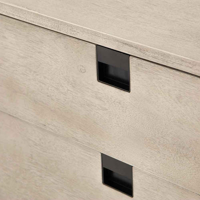 Grey washed 2 drawer nightstand of Acacia veneer from Four Hands drawer face perspective