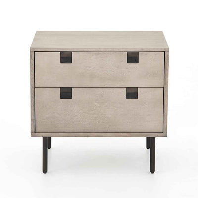 Grey washed 2 drawer nightstand of Acacia veneer from Four Hands front view
