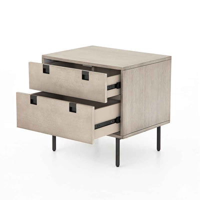 Grey washed 2 drawer nightstand of Acacia veneer from Four Hands open drawer view