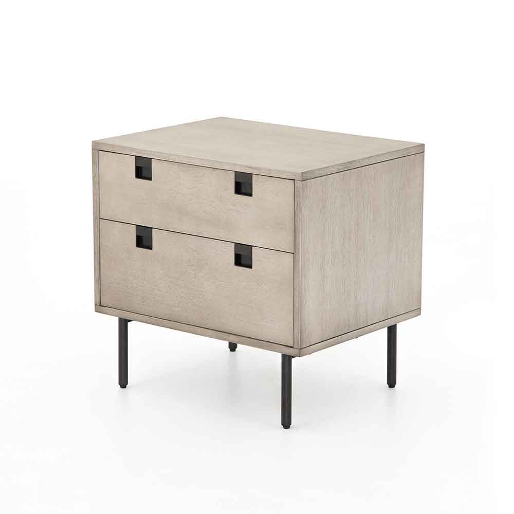 Grey washed 2 drawer nightstand of Acacia veneer from Four Hands