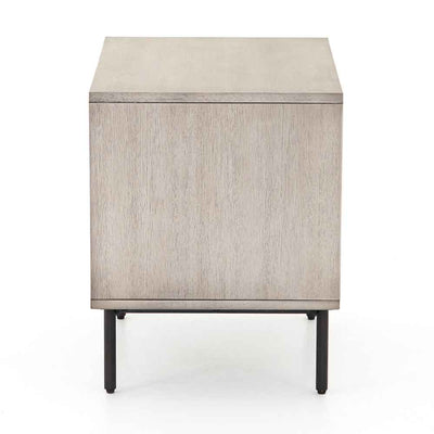 Grey washed 2 drawer nightstand of Acacia veneer from Four Hands side view