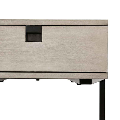 Grey washed C shape nightstand of Acacia veneer from Four Hands drawer pull detail