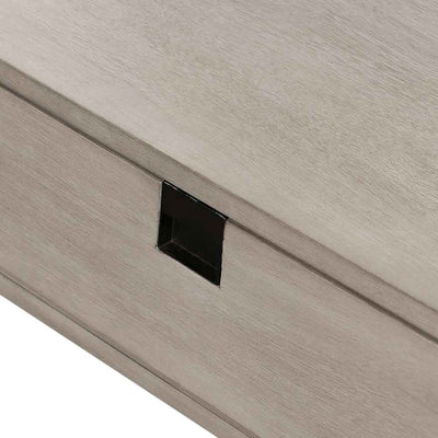 Grey washed C shape nightstand of Acacia veneer from Four Hands top and face view