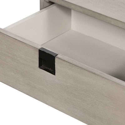 Grey washed C shape nightstand of Acacia veneer from Four Hands opend drawer detail