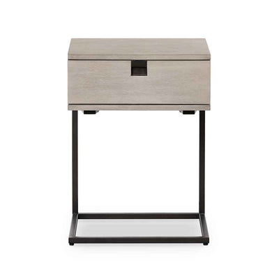 Grey washed C shape nightstand of Acacia veneer from Four Hands front view