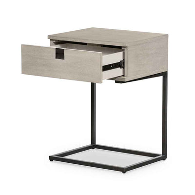 Grey washed C shape nightstand of Acacia veneer from Four Hands front open view