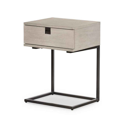 Grey washed C shape nightstand of Acacia veneer from Four Hands