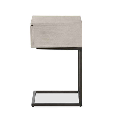 Grey washed C shape nightstand of Acacia veneer from Four Hands side view