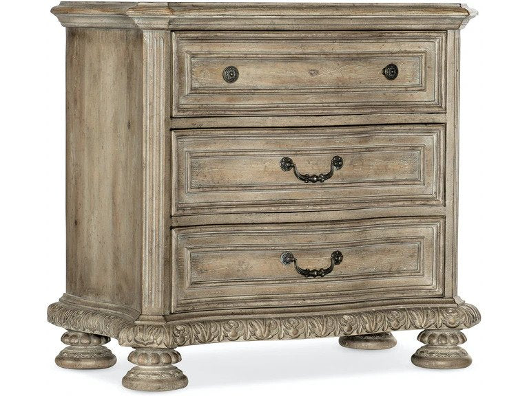 Castella Three Drawer Nightstand from Hooker in medium wood finish traditional style