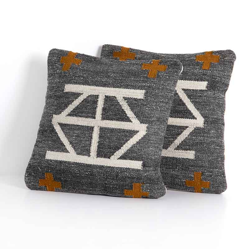 Celia outdoor pillow set of 2 in rust, charcoal, and toffee from Four Hands