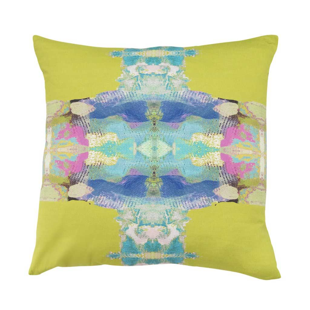 Provence Chartreuse Faux Hide Pillow Laura Park Designs Square
