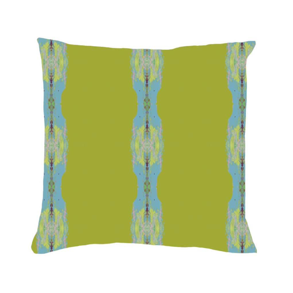 Provence Chartreuse Stripe Linen Cotton Pillow Laura Park Designs Square