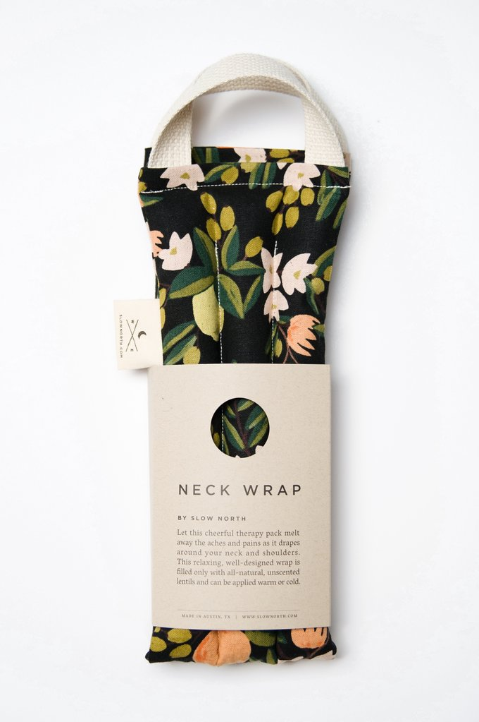 Citrus floral nexk wrap relieves tension from Slow North package image
