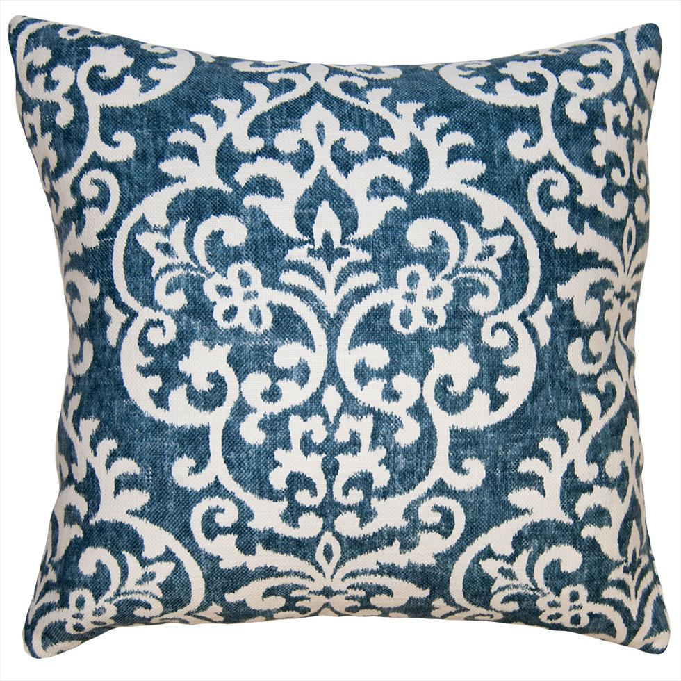 Coast Tribe throw pillow has a touch of N'Awlins with the branches of white fleur de lis mixed throughout a field of blue from Square Feathers