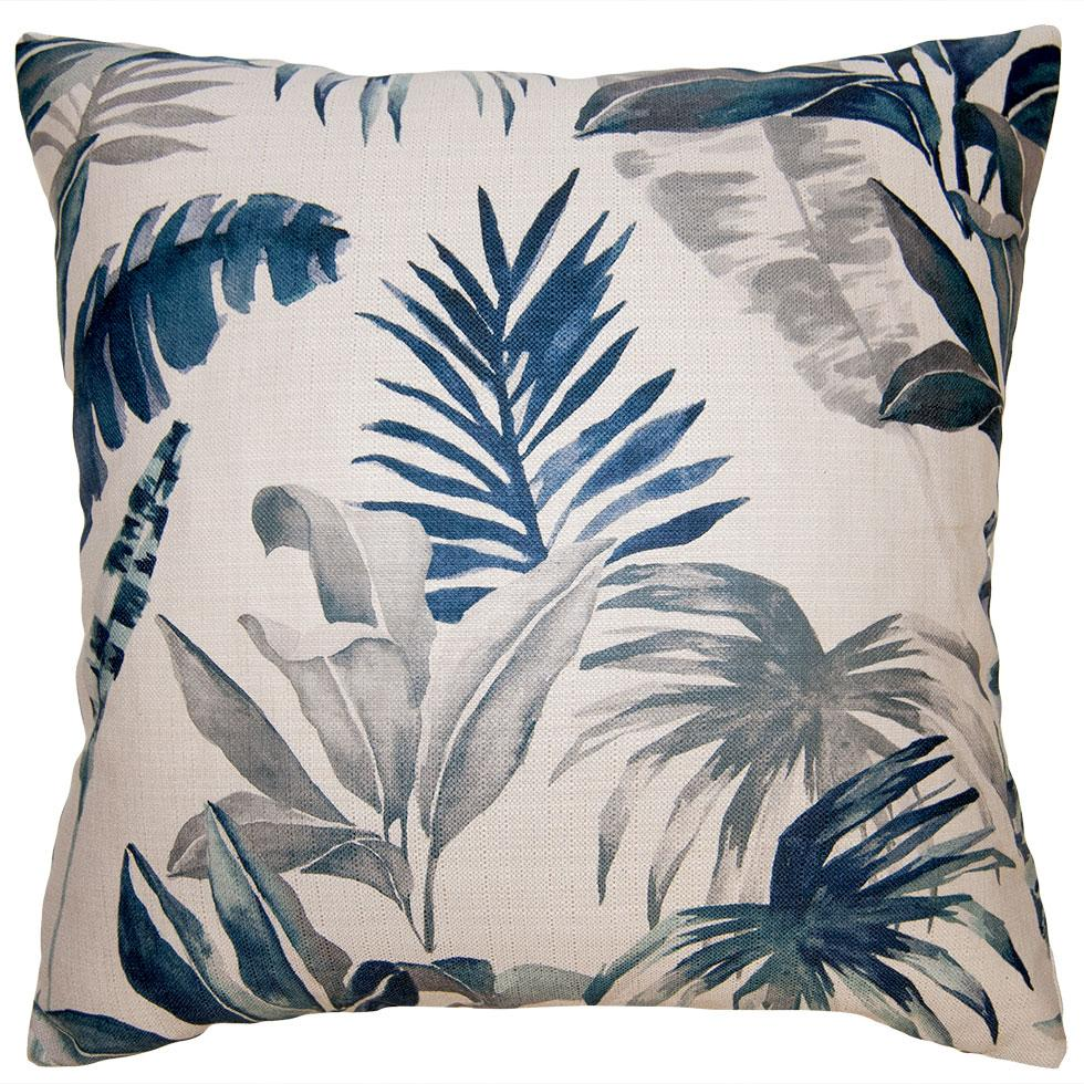 Coast Tropical throw pillow brings the feel of the rain forest to your living space with its botanicals in blue from Square Feathers
