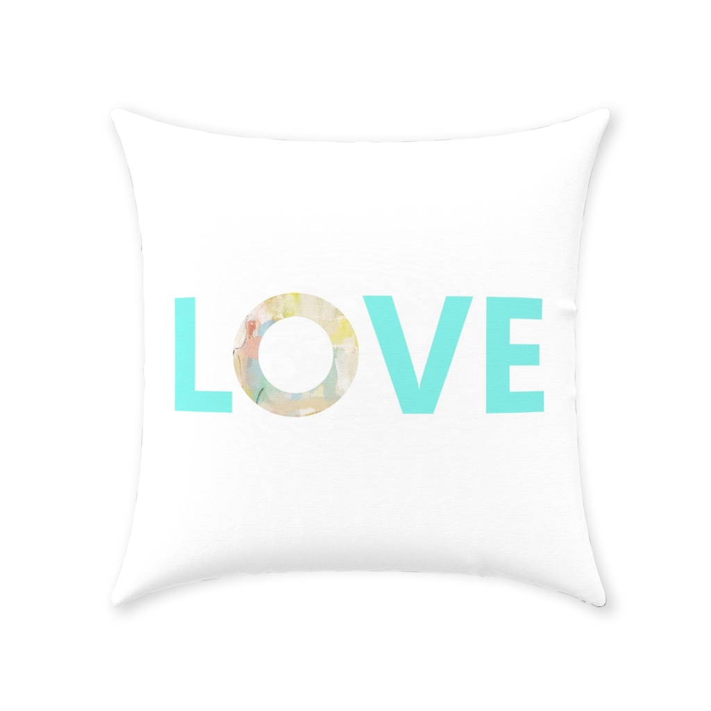 Coral Bay Orange Love Pillow with Love on white and pattern reverse from Laura Park Designs