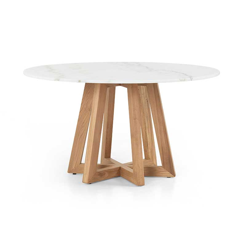 Creston White Marble dining table in honey oak from Four Hands