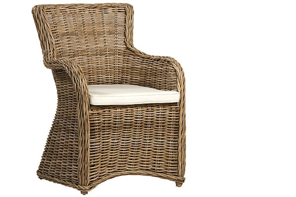 Kent Rattan Arm Chair with White Cushion for Indoor Use Only