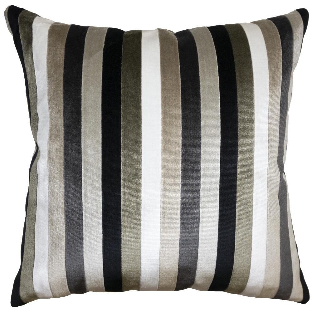 Dakota Multi-Stripe throw pillow with varying shades of grey and black stripes from Square Feathers