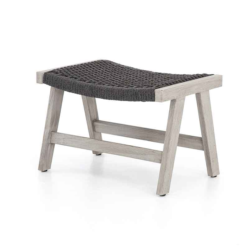 Delano Ottoman dark grey rope and weathered teak from Four Hands
