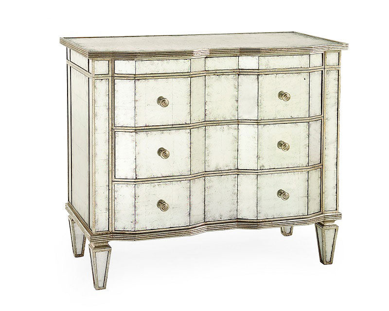 Eglomise Chest of Drawers-Silver Finish