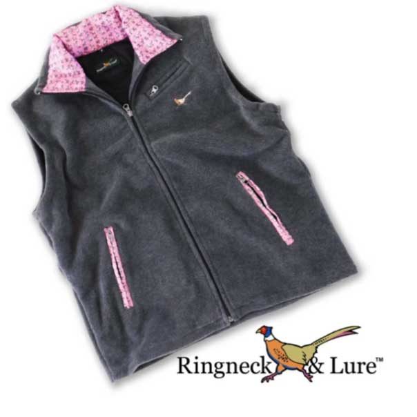 Elephants Raspberry Graphite Gray Fleece Vest Ringneck & Lure