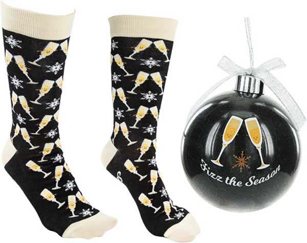 Fizz The Season Christmas Socks and Ornament product image