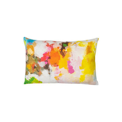 Flower Child linen pillow in vivid colors from Laura Park Designs. Lumbar throw pillow