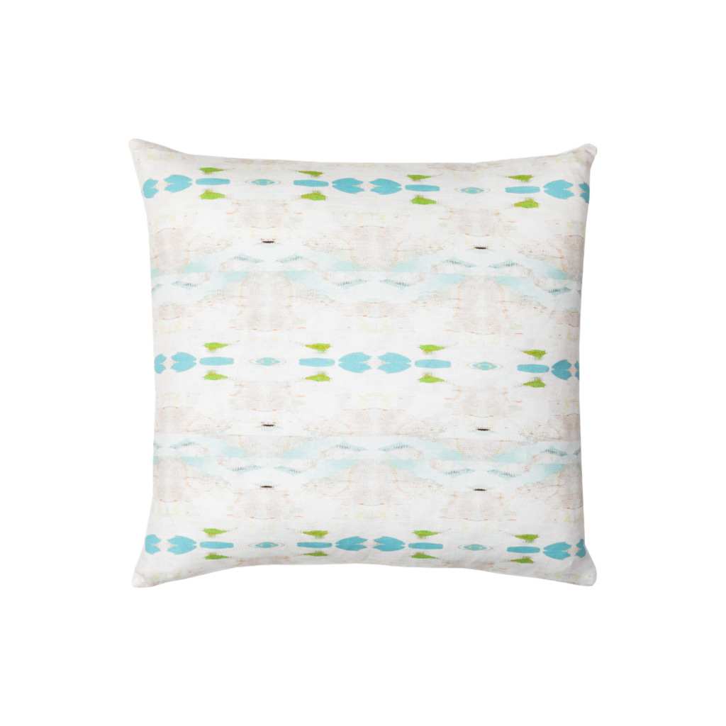 Flower Child Blue linen pillow with shades of blue from Laura Park Designs. Square throw pillow