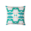 Flower child emerald linen pillow in bold greens from Laura Park Designs. Square sofa pillow