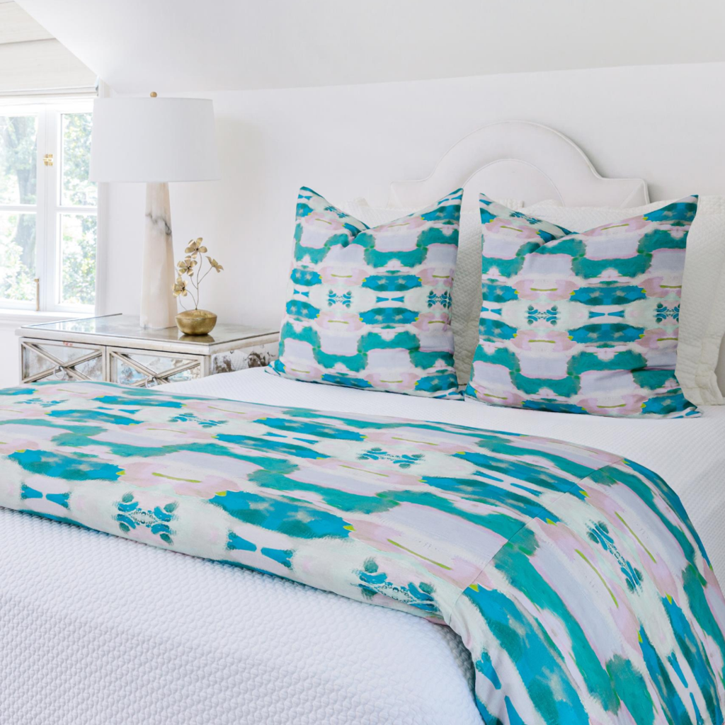 Flower Child Emerald Duvet Cover in rich greens and blues from Laura Park Designs
