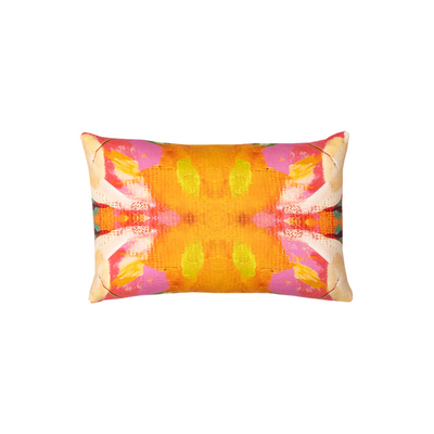 Flower child marigold linen pillow in vivid colors from Laura Park Designs. Lumbar sofa pillow