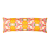 Flower child marigold linen pillow in vivid and bold colors from Laura Park Designs. Bolster pillow