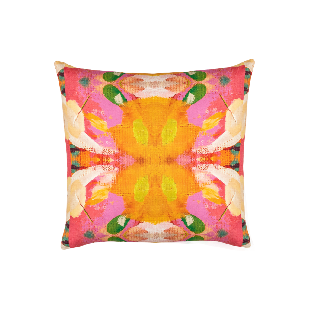 Flower child marigold linen pillow in vivid colors from Laura Park Designs. Square sofa pillow