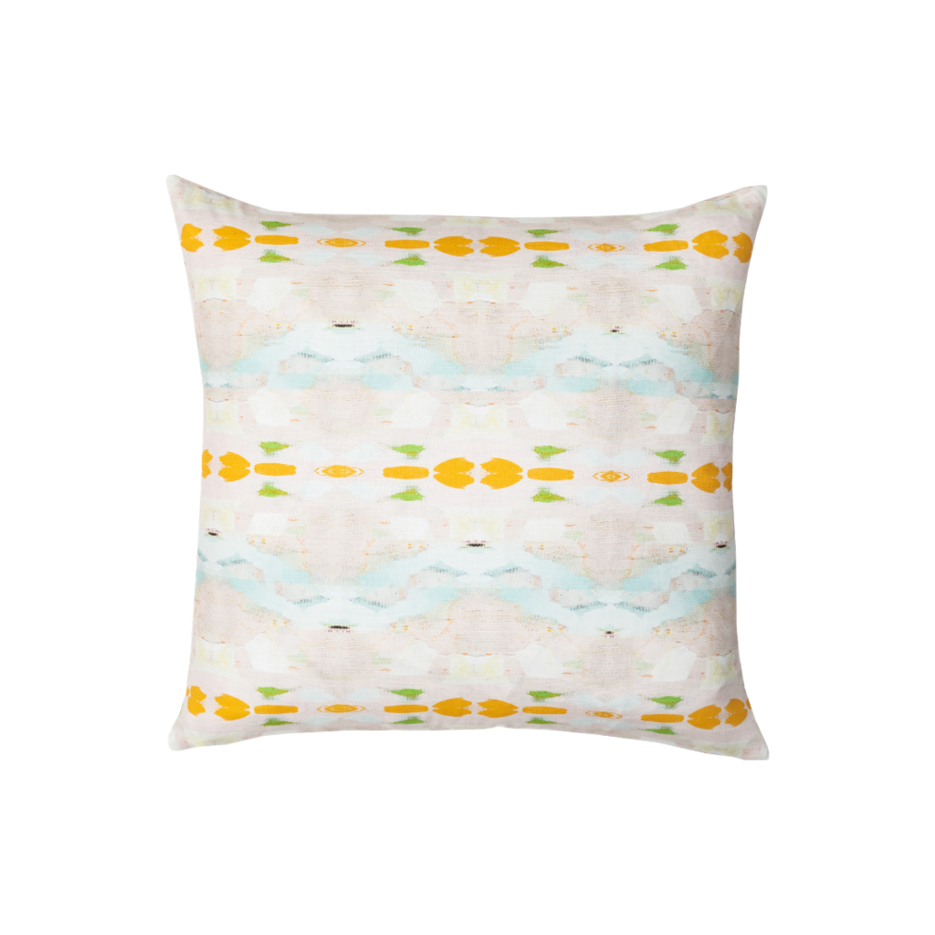 Flower Child orange linen pillow with vivid orange from Laura Park Designs. Square sofa pillow