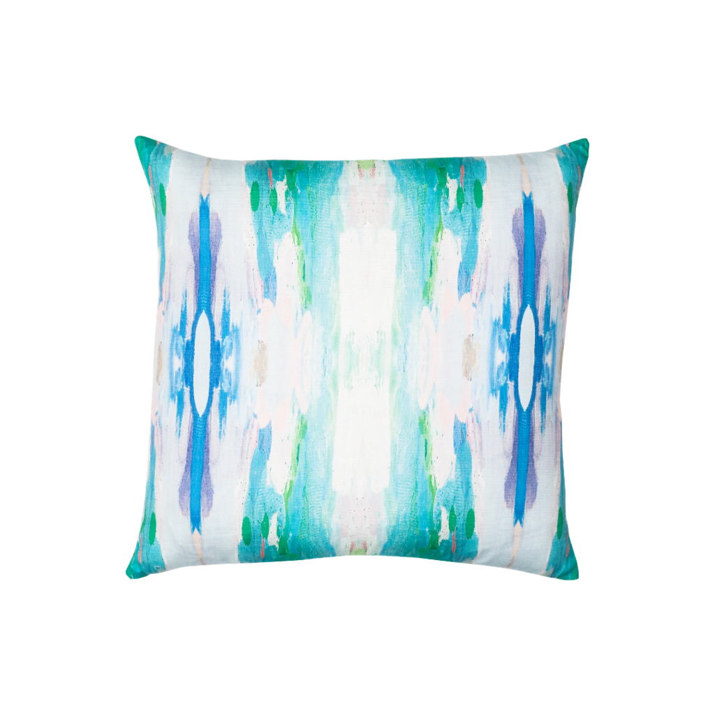 Flower Child teal linen pillow with vivid blues from Laura Park Designs. Square sofa pillow