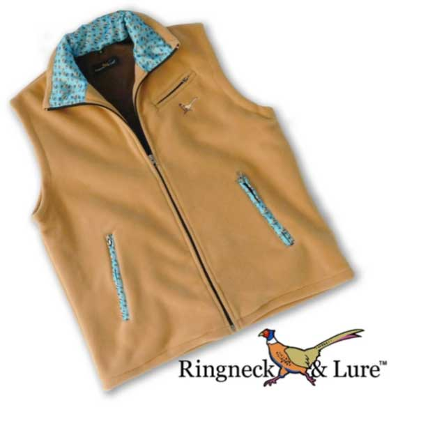 Fly Lures Cerulean Blue Camel Fleece Vest Ringneck & Lure
