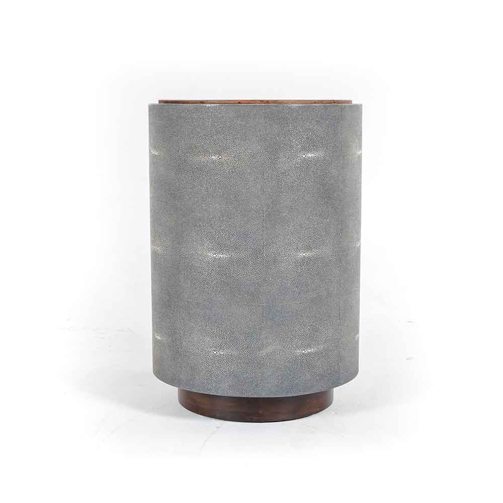 Crosby Side Table side view peroba and faux shagreen Four Hands