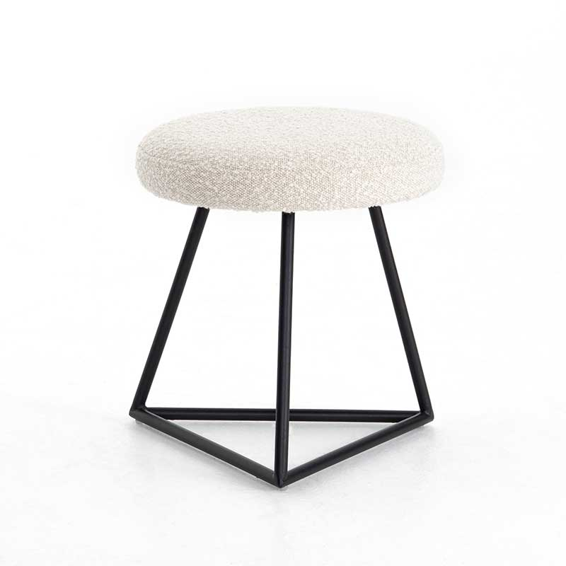 Frankie Accent Stool with iron base and round fabric seat from Four Hands Furniture