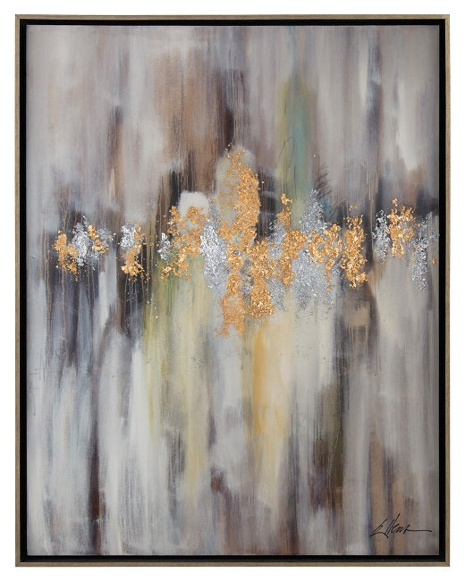 Behind the Veil painting by Jackie Ellens textural gold and silver leaf from John-Richard