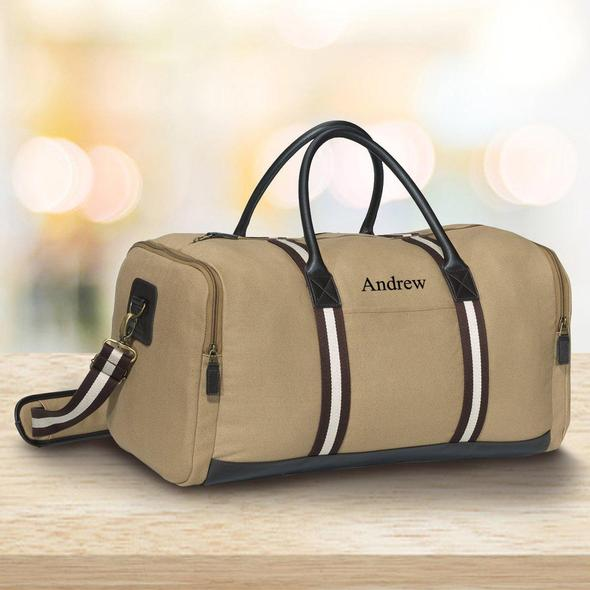 Khaki canvas duffle bag white and brown trim