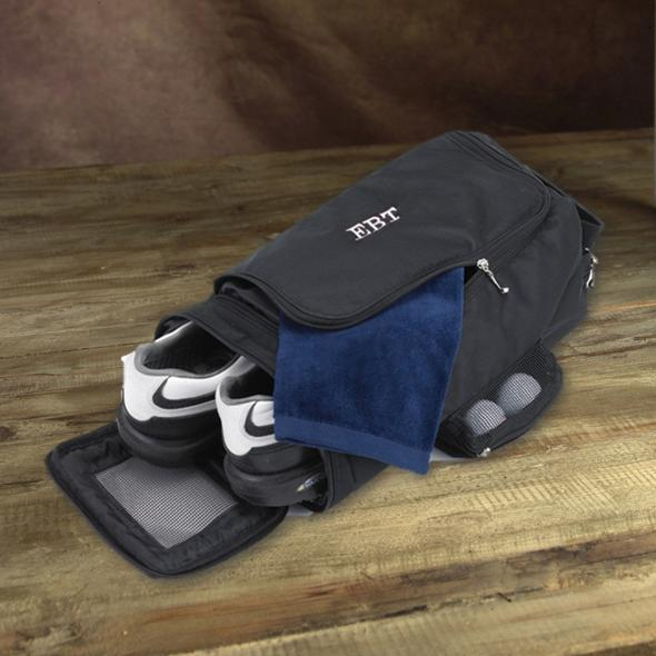 Personalized golf shoe bag with end access and two storage pockets