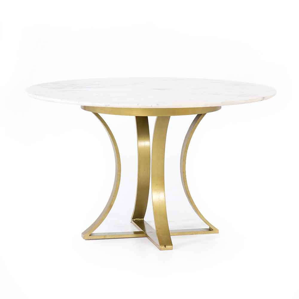 "Gage dining table with white polished marble 48"" top from Four Hands"