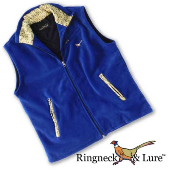 Gamebirds Olive Royal Blue Fleece Vest Ringneck & Lure