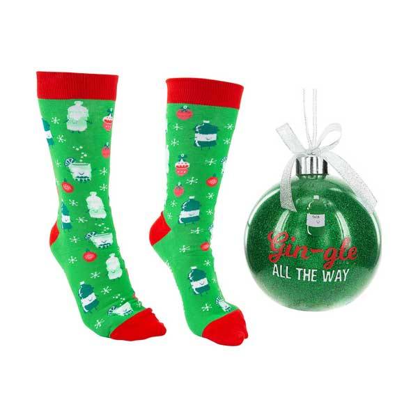Gin-Gle Holiday Socks and ornament gift set green socks and ornament