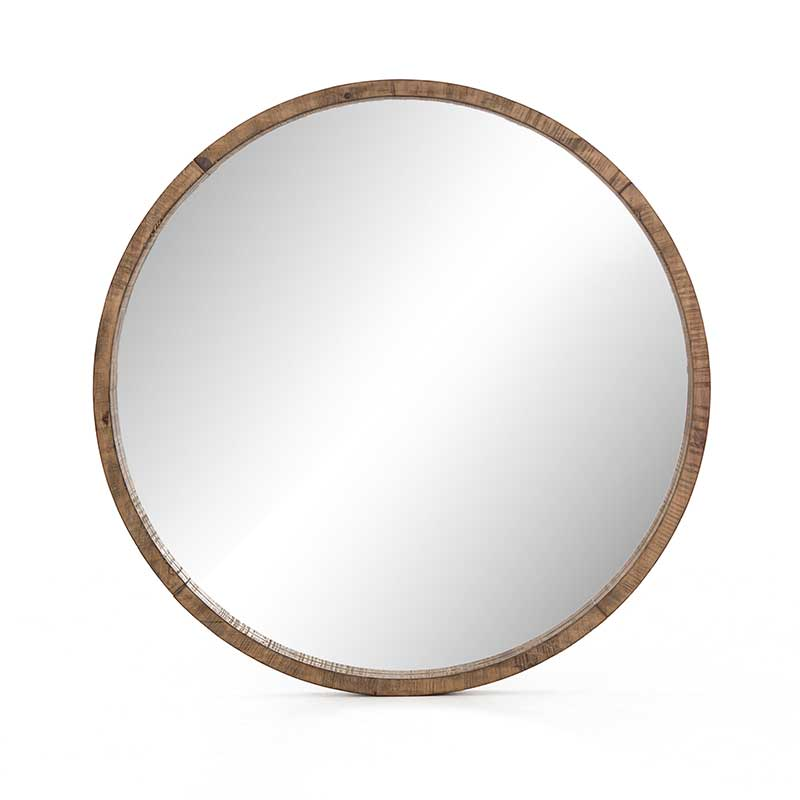 Harlan Round Mirror from Four Hands reclaimed pine in saddle tan finish